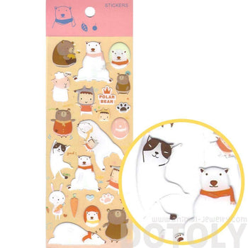 Adorable Polar Bear Honey Bear and Cats Shaped Animal Jelly Stickers for Scrapbooking | DOTOLY