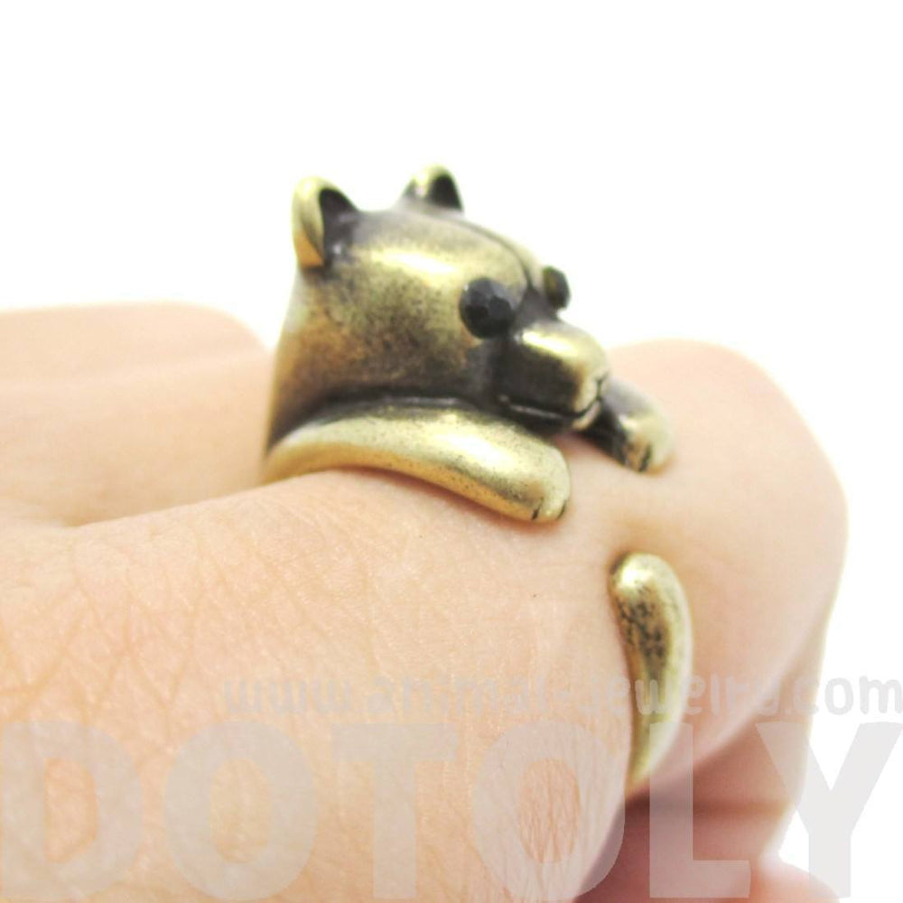 Adorable Polar Bear Hugging Your Finger Shaped Animal Ring in Brass | US Size 5 to 8 | DOTOLY