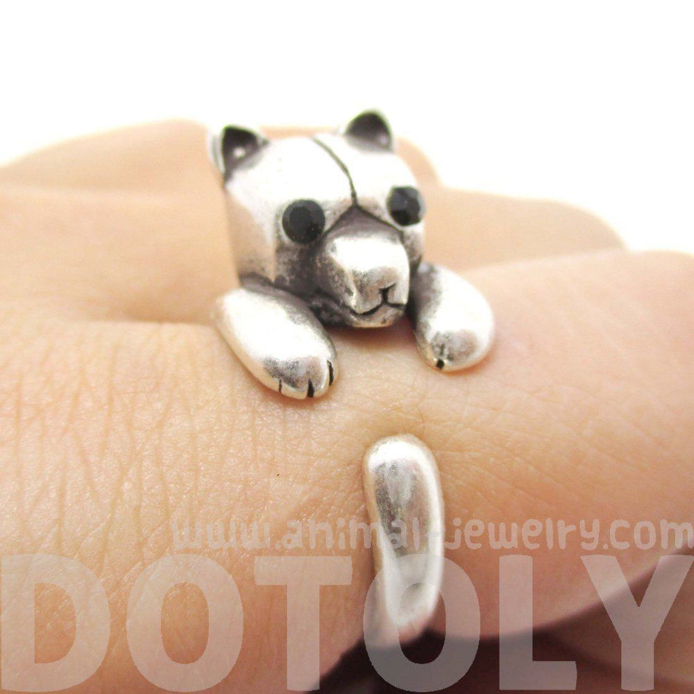 Adorable Polar Bear Hugging Your Finger Shaped Animal Ring in Silver | US Size 5 to 8 | DOTOLY