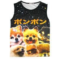 Adorable Pomeranian Photo Graphic Print Oversized Unisex Tank Top | DOTOLY