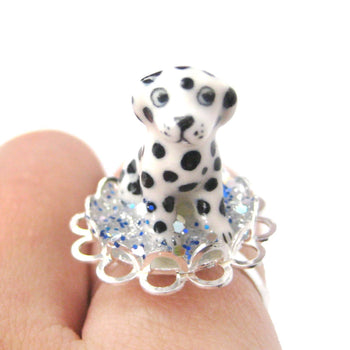 Adorable Porcelain Ceramic Dalmatian Puppy Dog Adjustable Ring | Animal Jewelry | DOTOLY