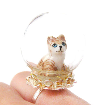 Adorable Porcelain Striped Kitty Cat Glass Snow Globe Bubble Adjustable Ring | Animal Jewelry | DOTOLY