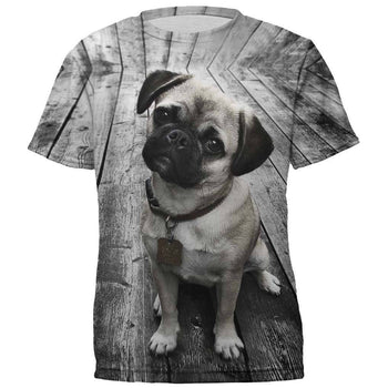 Adorable Pug Puppy All Over Graphic Print T-Shirt | DOTOLY | DOTOLY