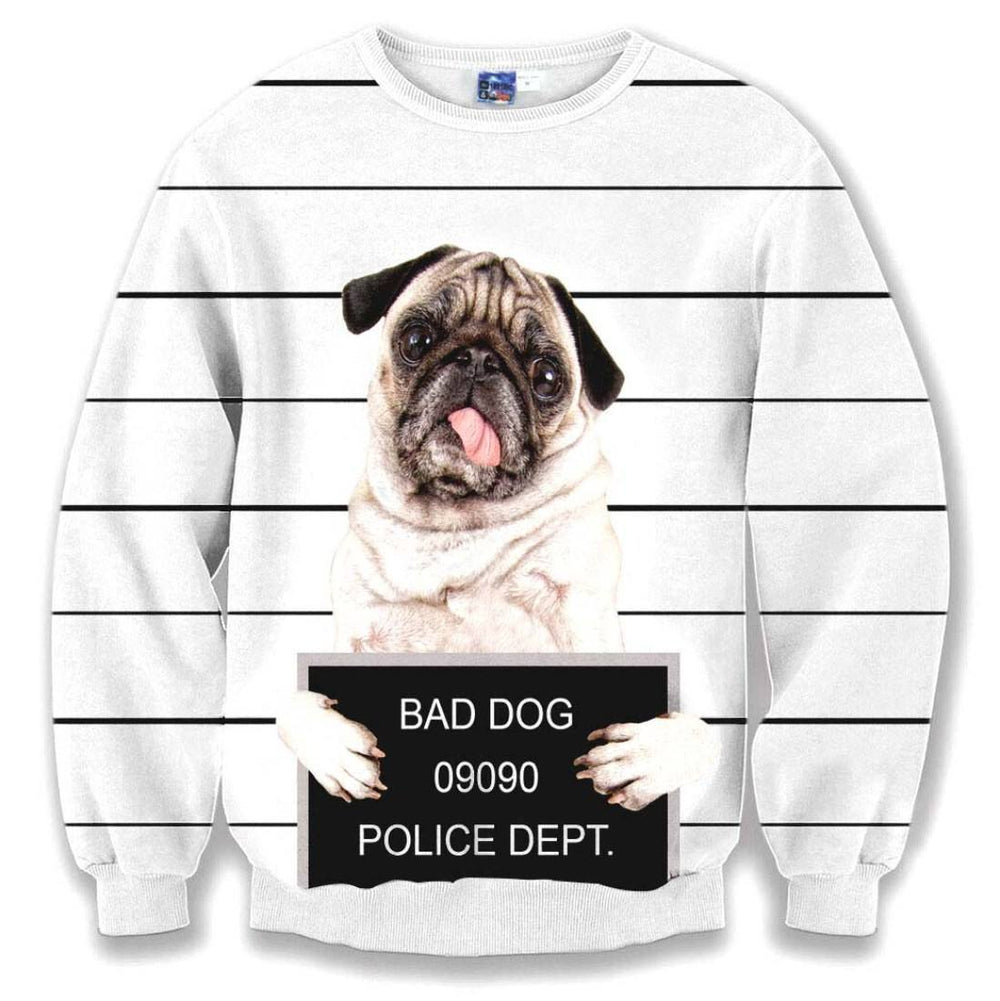 Adorable Pug Puppy Bad Dog Prison Mug Shot Graphic Print Unisex Pullover Sweatshirt | DOTOLY