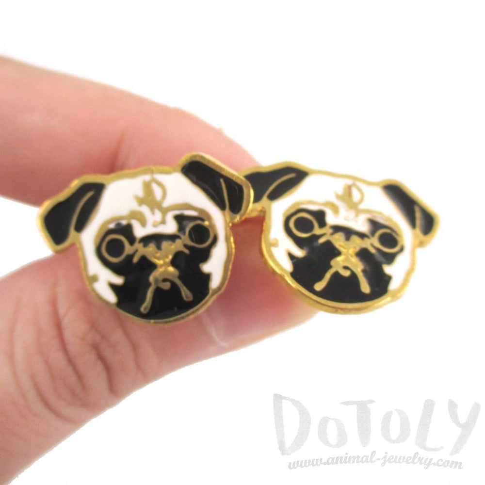 Adorable Pug Puppy Dog Face Shaped Stud Earrings | Limited Edition | DOTOLY
