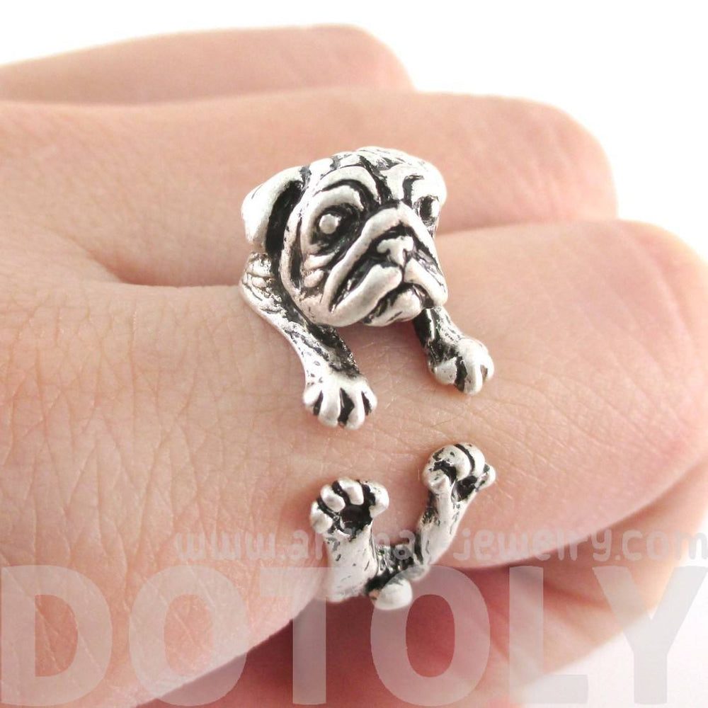 Adorable Pug Puppy Dog Shaped Animal Wrap Around Ring in Silver | Sizes 6 to 9 | DOTOLY