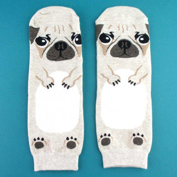 Adorable Pug Puppy Dog Shaped Cotton Socks in Khaki | DOTOLY | DOTOLY