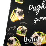 Adorable Pug Taco Graphic Print Oversized Unisex Tank Top in Black | DOTOLY