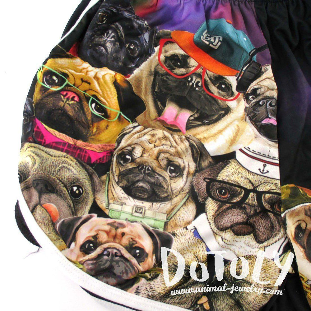 Adorable Pugs Wearing Costumes Collage Print Elastic Waist Shorts | DOTOLY