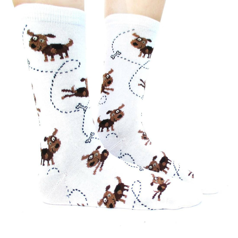 Adorable Puppy Dog and Bone Novelty Print Calf High Socks for Women in White | DOTOLY