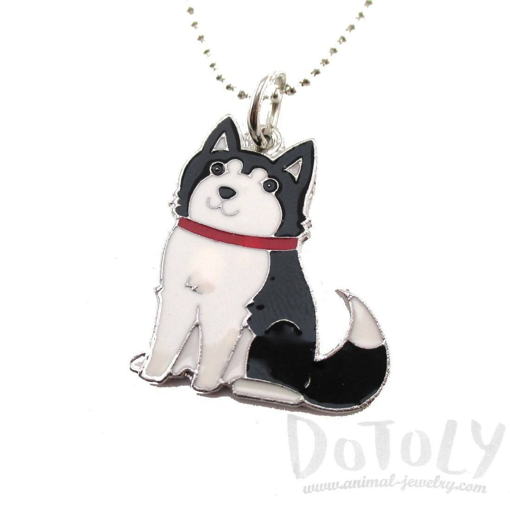 Adorable Puppy Dog Shaped Animal Pendant Necklace in Black and White | DOTOLY