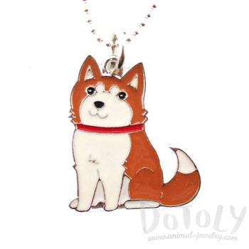 Adorable Puppy Dog Shaped Animal Pendant Necklace in Brown and White | DOTOLY