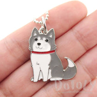 Adorable Puppy Dog Shaped Animal Pendant Necklace in Grey and White | DOTOLY