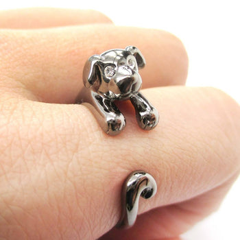 Adorable Puppy Dog Shaped Animal Wrap Around Ring in Gunmetal Silver | US Sizes 4 to 9 | DOTOLY