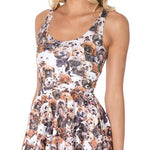 Adorable Puppy Mixed Dog Breed Collage All Over Print Sleeveless Skater Dress | DOTOLY