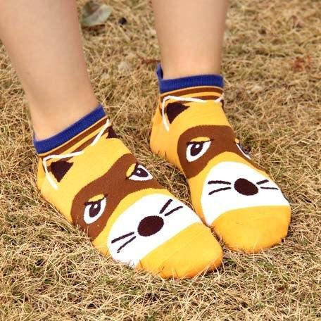 Adorable Raccoon Animal Themed Cotton Ankle Socks in Brown for Women | DOTOLY