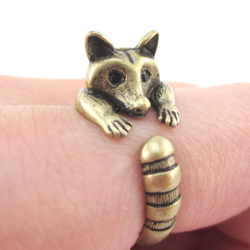 Cute Raccoon Wrapped Around Your Finger Shaped Animal Ring in Brass