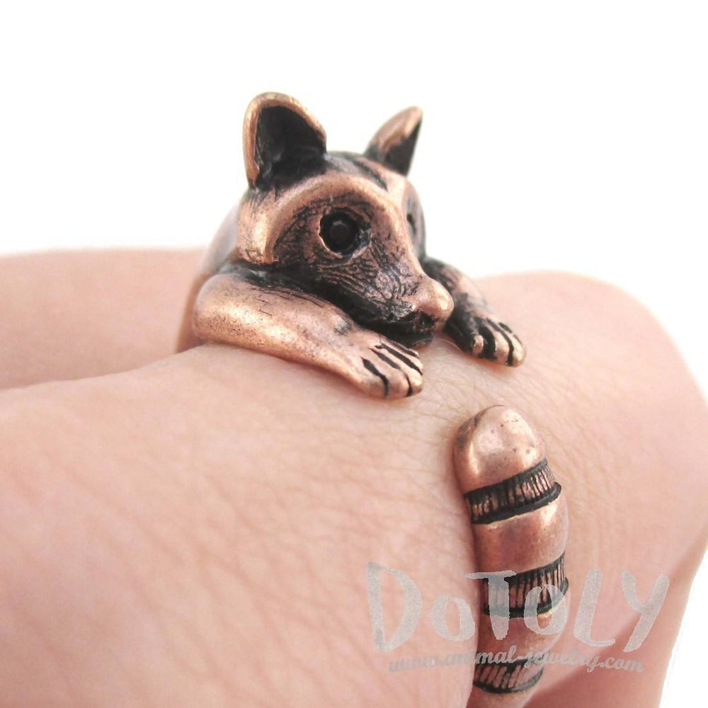 3D Raccoon Wrapped Around Your Finger Shaped Animal Ring in Copper