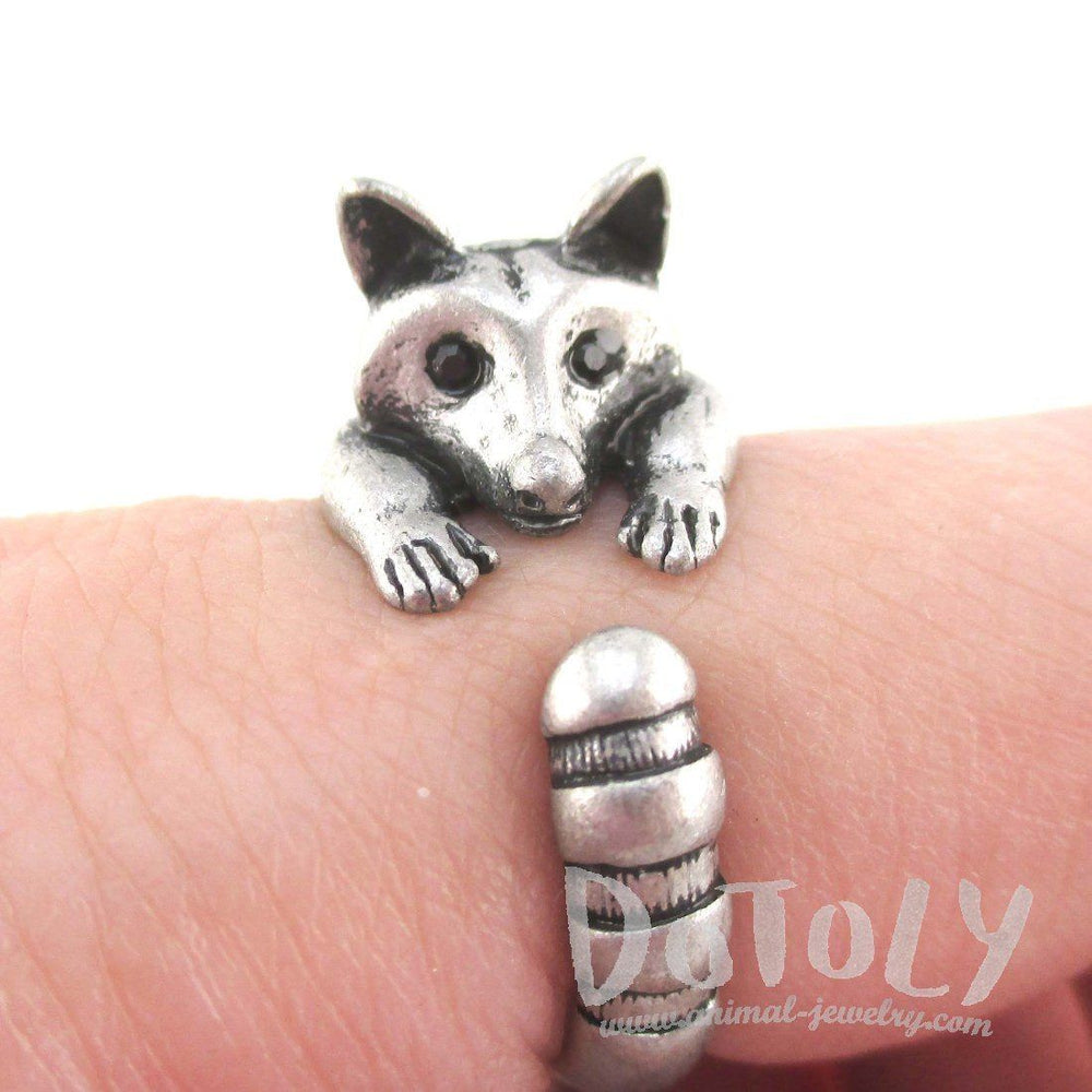 3D Raccoon Wrapped Around Your Finger Shaped Animal Ring in Silver