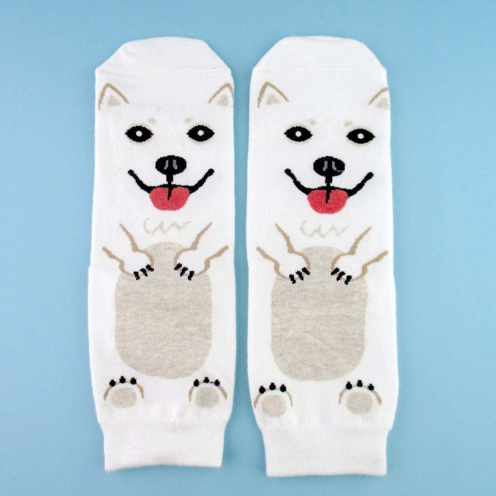 Adorable Samoyed Puppy Dog Shaped Cotton Socks in White | DOTOLY | DOTOLY