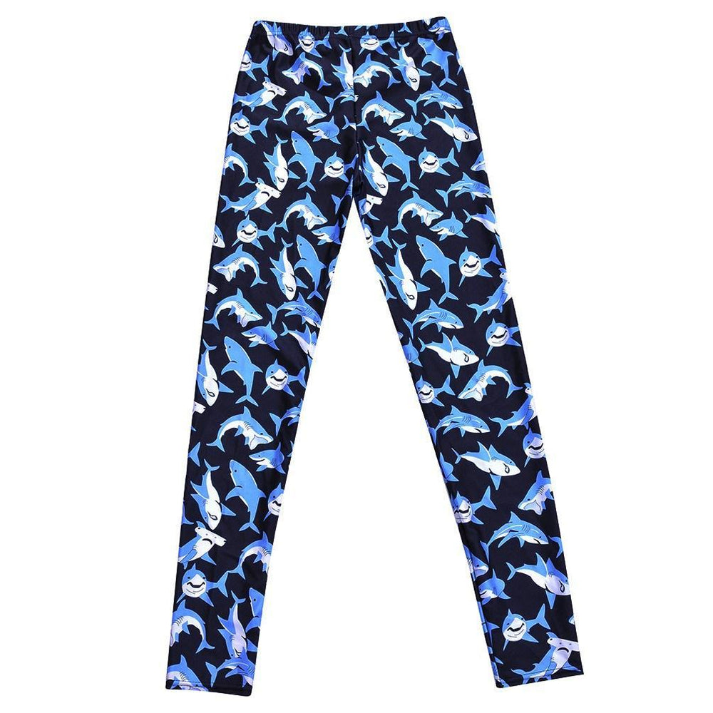 Adorable Shark All Over Print Stretch Leggings for Women in Black | DOTOLY | DOTOLY