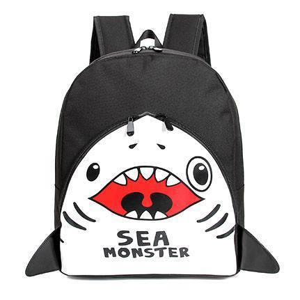 Adorable Shark Sea Monster Shaped Gym Rucksack Backpack in Black | Shark Week | DOTOLY
