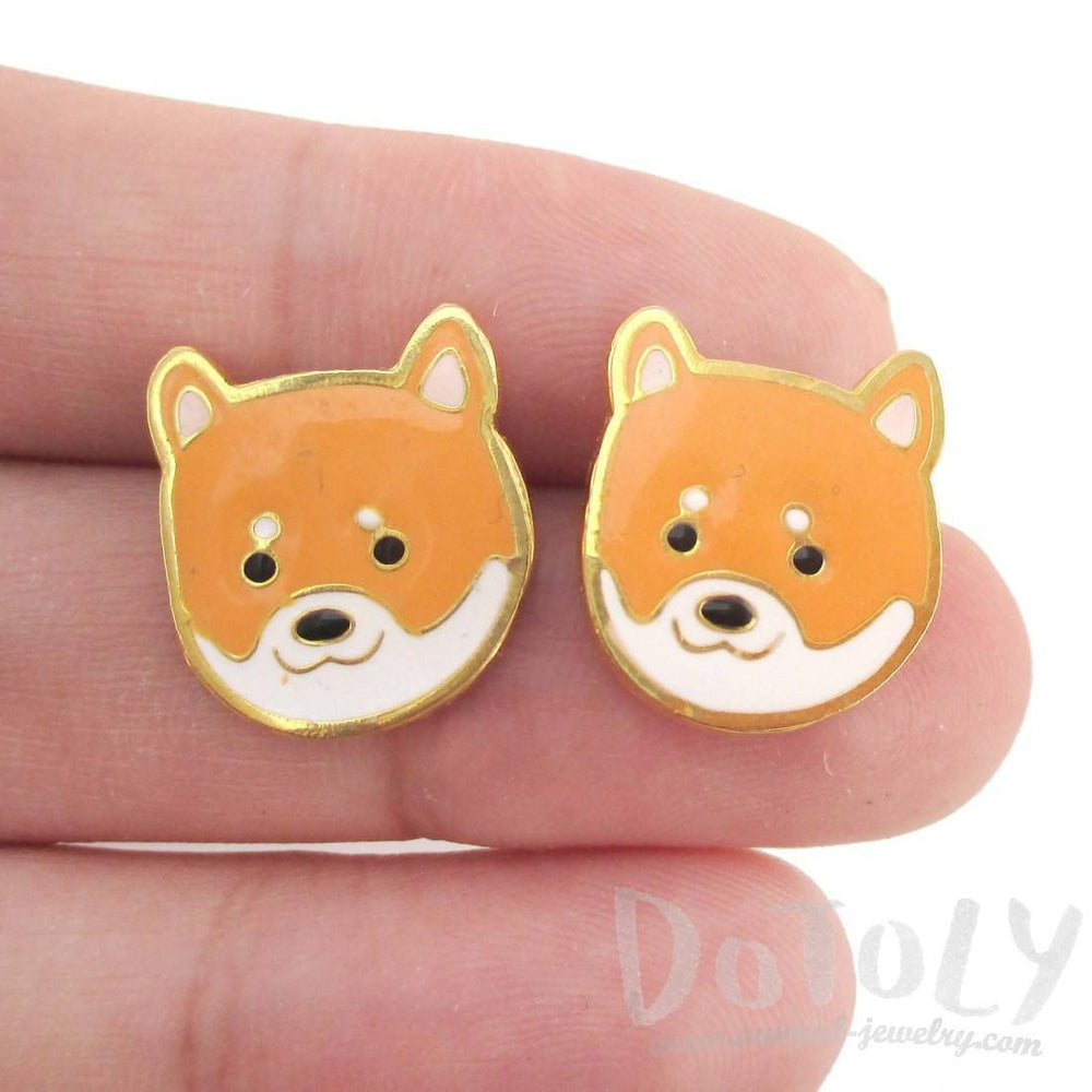 Adorable Shiba Inu Puppy Dog Face Shaped Stud Earrings | Limited Edition | DOTOLY