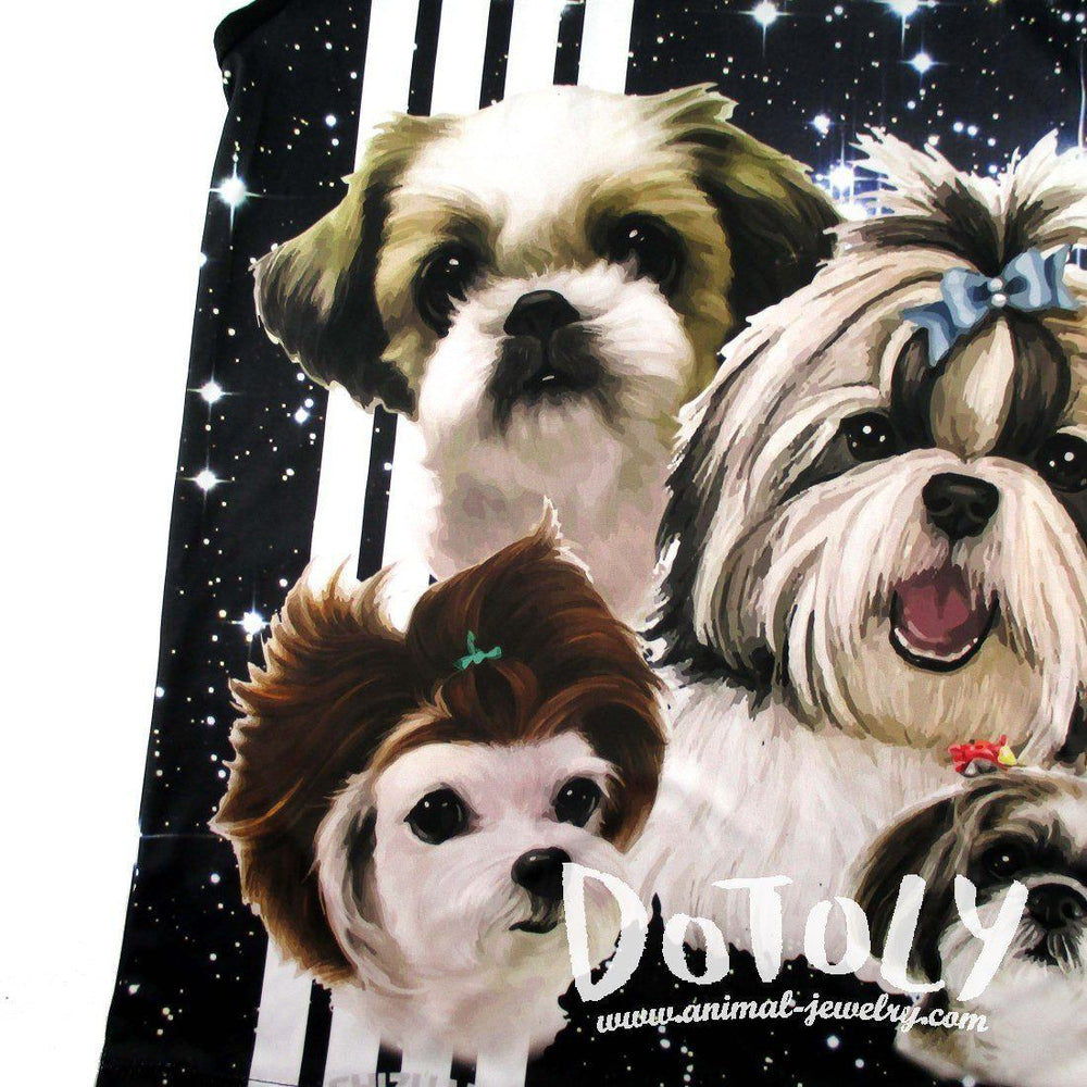 Adorable Shih Tzu Photo Graphic Print Oversized Unisex Tank Top in Black | DOTOLY