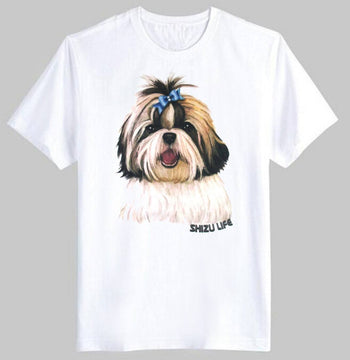 Adorable Shih Tzu Puppy Face Graphic Print T-Shirt in White | DOTOLY | DOTOLY