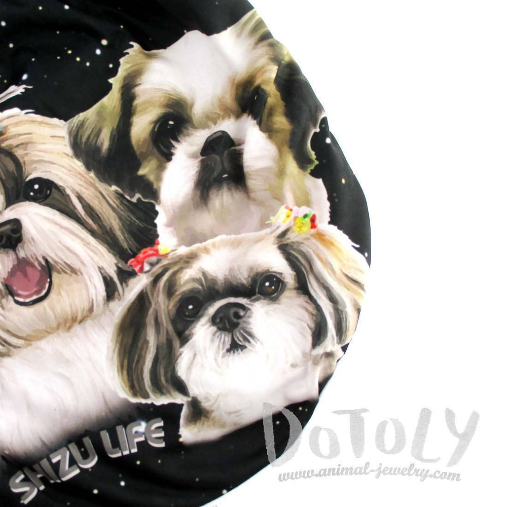 Adorable Shih Tzu Space Star Print Elastic Waist Shorts in Black with Stripes | DOTOLY