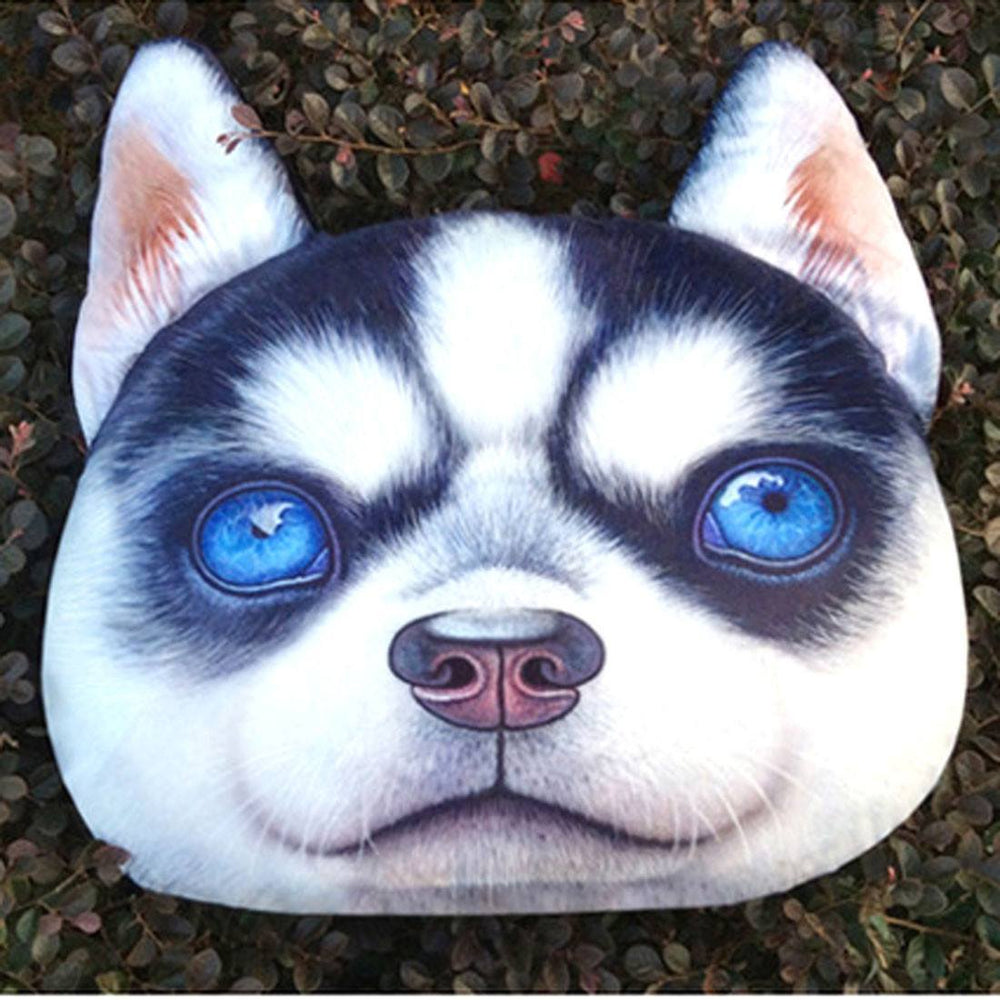 Adorable Siberian Husky Puppy Dog Face Shaped Large Cushion Pillow | DOTOLY