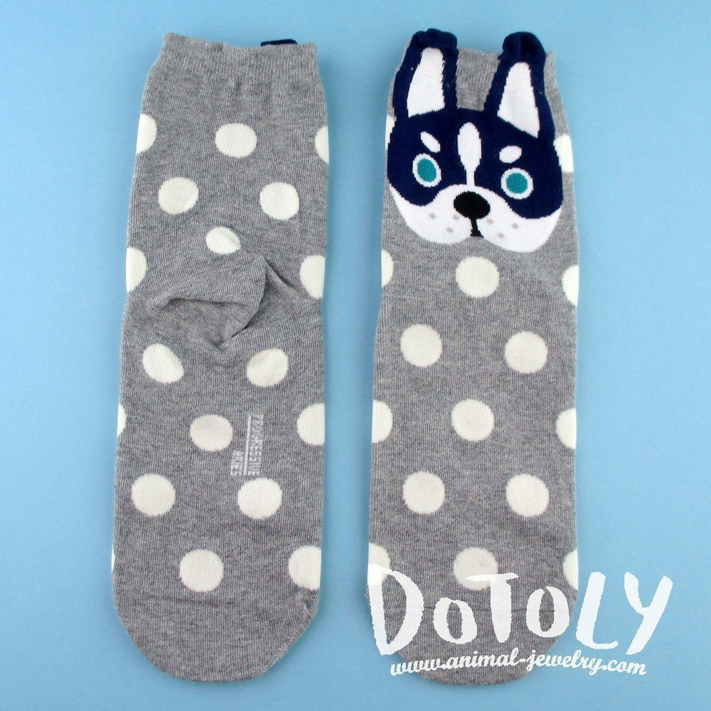 Adorable Siberian Husky Puppy Face With Polka Dots Pattern Cotton Socks in Grey | DOTOLY | DOTOLY