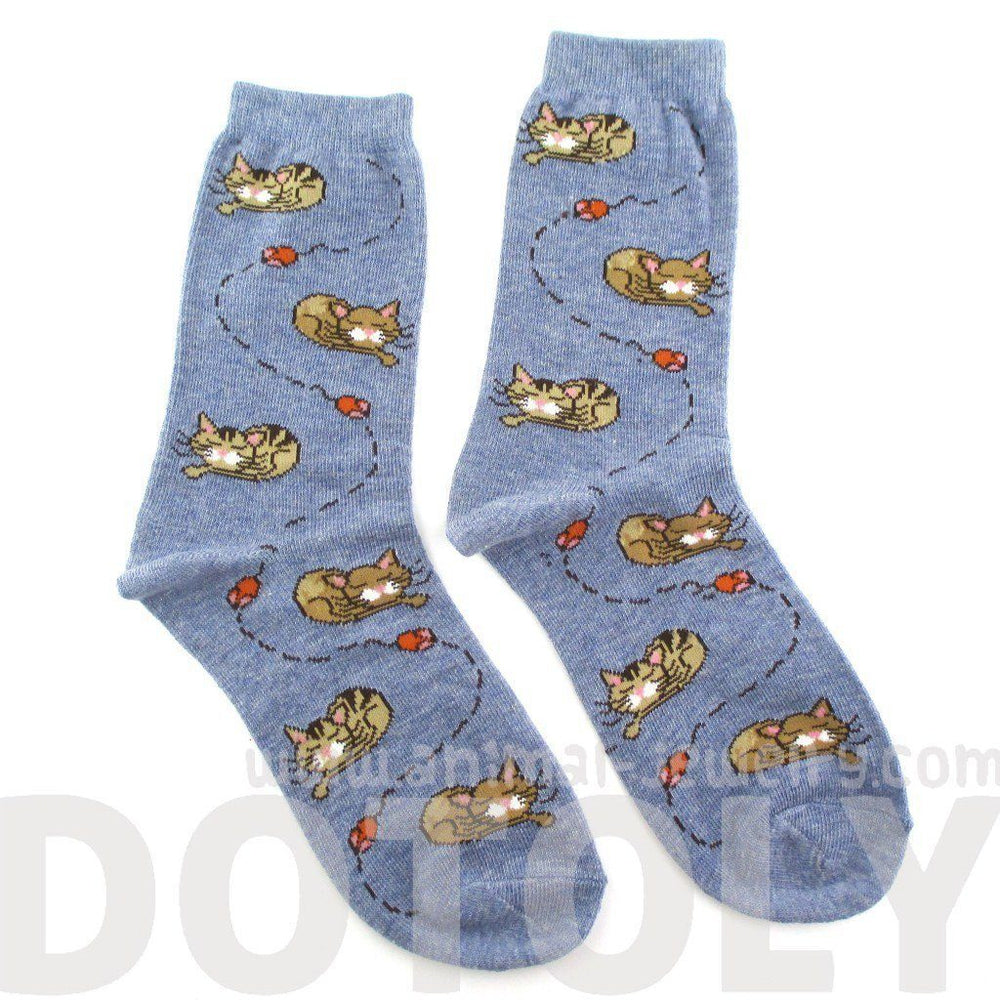 Adorable Sleeping Kitty Cat and Mice Novelty Print Socks for Women in Blue | DOTOLY