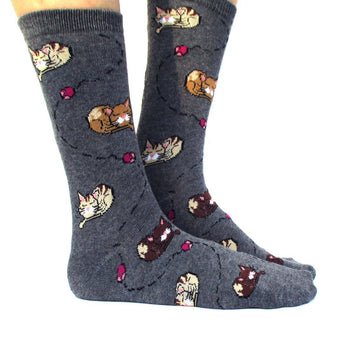 Adorable Sleeping Kitty Cats and Mice Novelty Print Long Socks for Women in Dark Grey | DOTOLY
