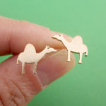 Adorable Sleepy Dromedary Camel Shaped Allergy Free Stud Earrings in Rose Gold