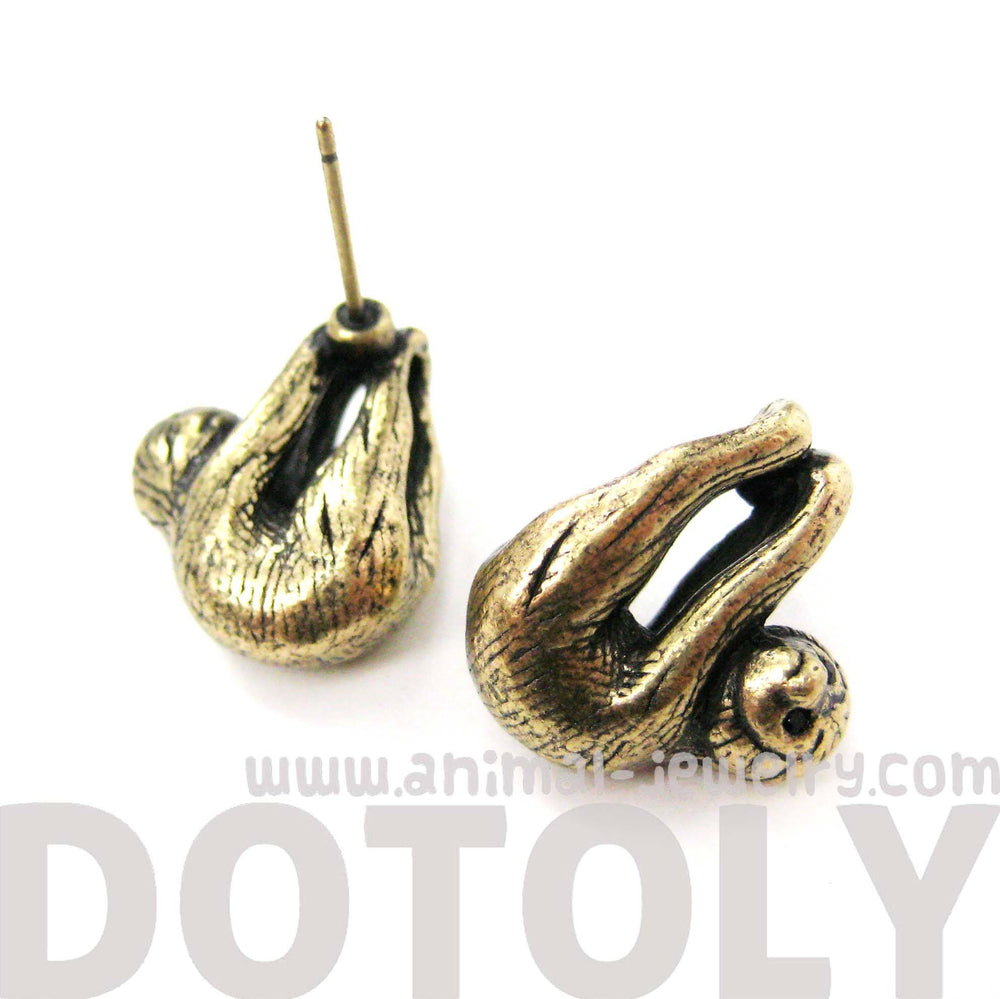 Adorable Sloth Shaped Animal Stud Earrings in Brass | Animal Jewelry | DOTOLY