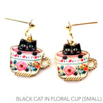 Black Teacup Kitty Cat in a Floral China Cup Dangle Stud Earrings