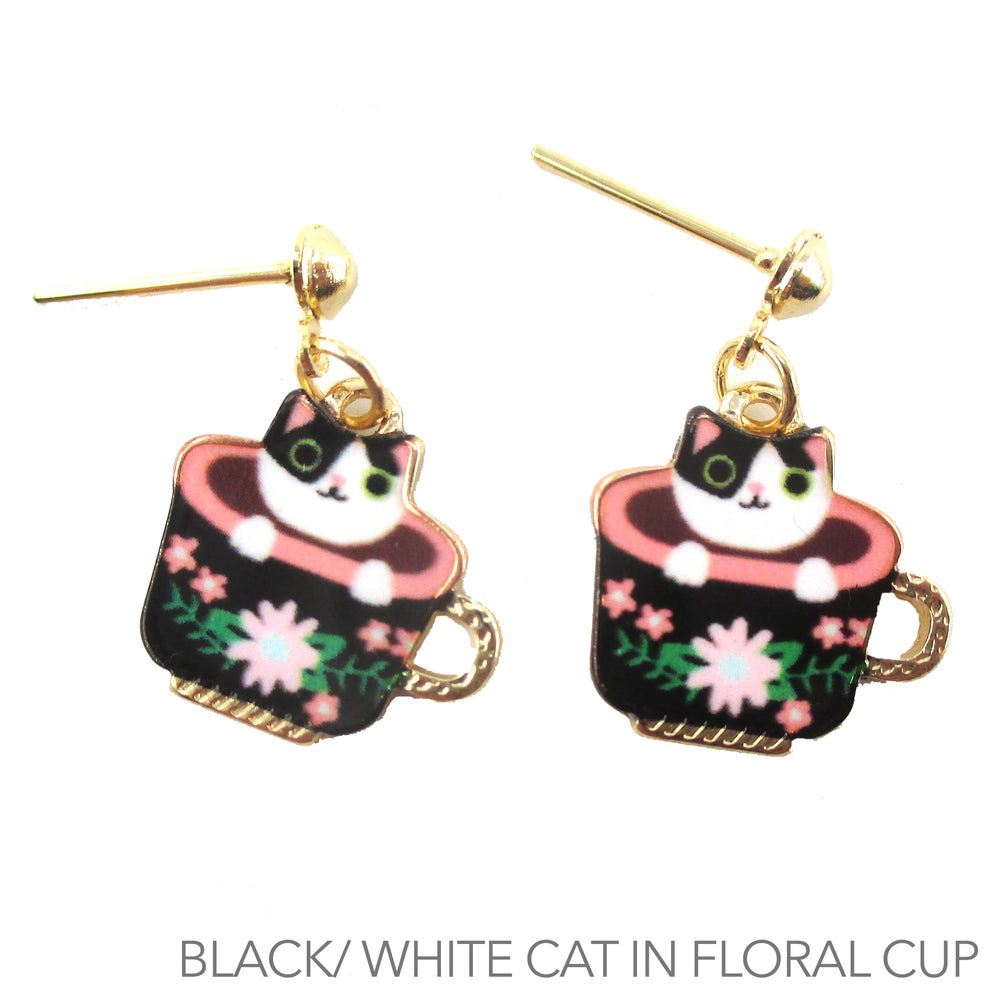 Black and White Teacup Kitty Cat in a Cup Dangle Stud Earrings
