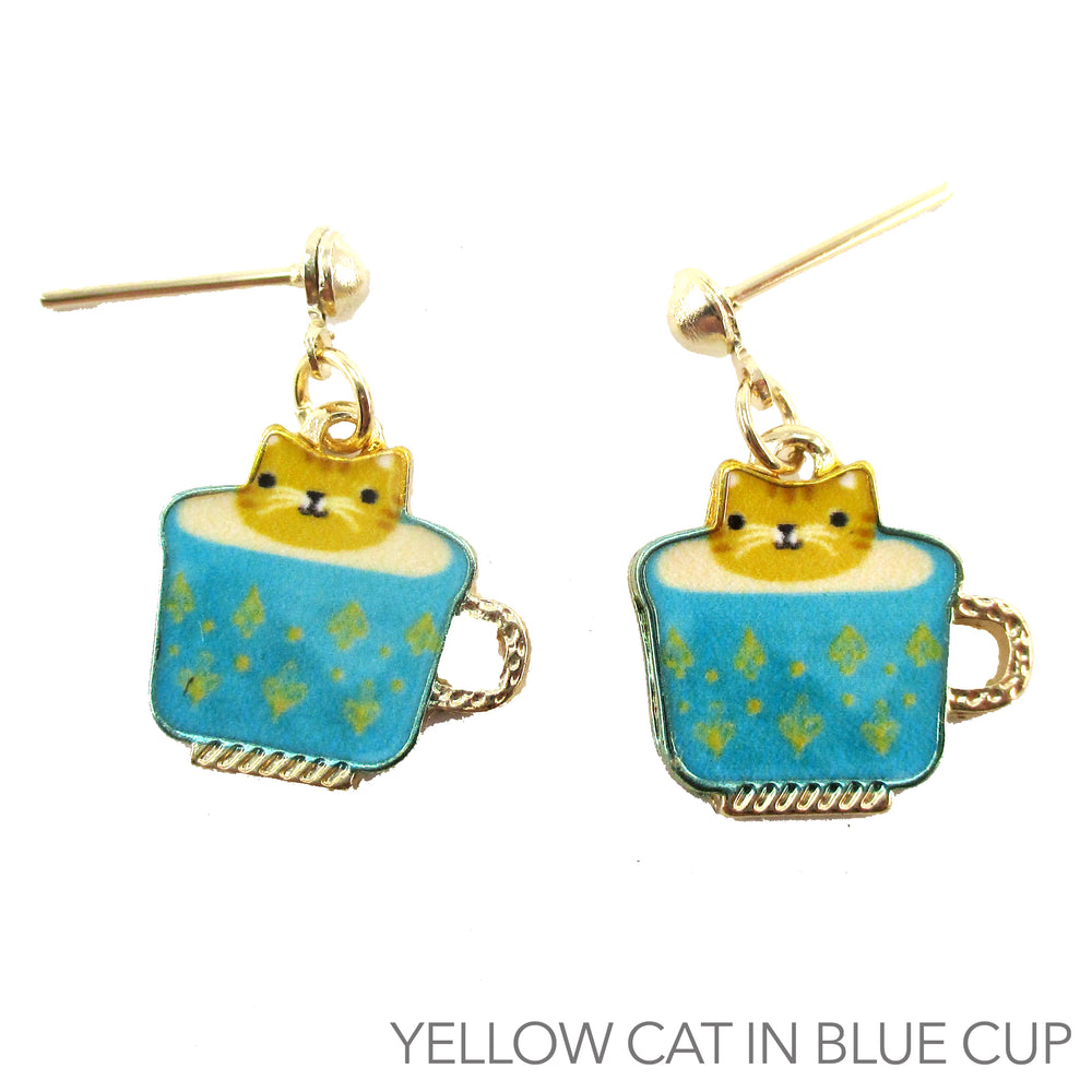 Ginger Teacup Kitty Cat in a Coffee Cup Catpuccino Dangle Stud Earrings