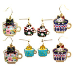 Adorable Teacup Kitty Cats in a Cup Catpuccino Dangle Stud Earrings