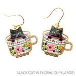 Adorable Teacup Kitty Cats in a Cup Catpuccino Dangle Drop Earrings
