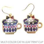 Adorable Black and Tan Teacup Kitty Cat in a  Leaf Print Cup Catpuccino Dangle Stud Earrings