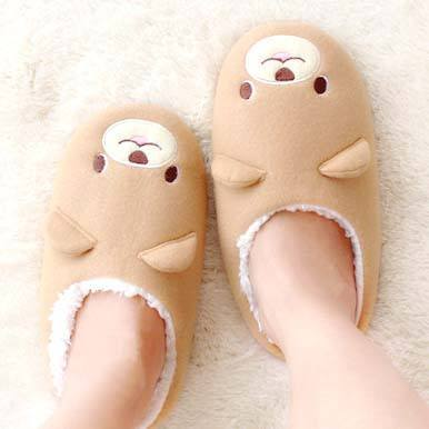 Adorable Teddy Bear Animal Shaped Slip-On Slippers for Women in Brown | DOTOLY