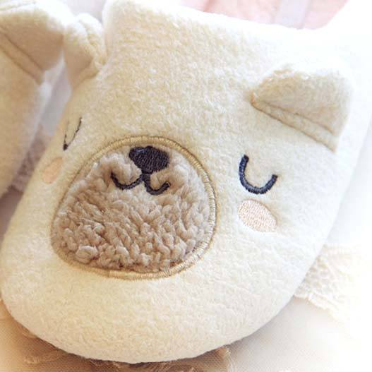 Adorable Teddy Bear Animal Shaped Slip-On Slippers for Women in White | DOTOLY