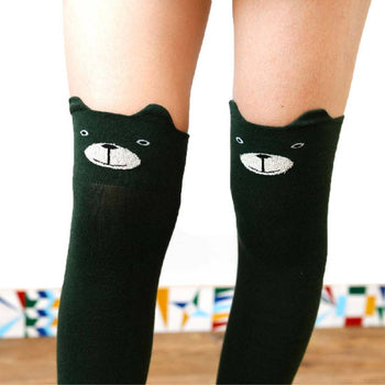 Adorable Teddy Bear Animal Themed Over the Knee Thigh High Cotton Socks in Green | DOTOLY