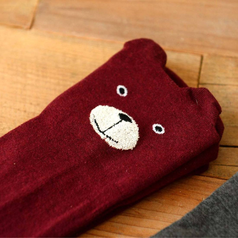 Adorable Teddy Bear Animal Themed Over the Knee Thigh High Cotton Socks in Maroon Red | DOTOLY