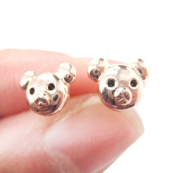 Adorable Teddy Bear Face Shaped Animal Themed Stud Earrings in Rose Gold | DOTOLY