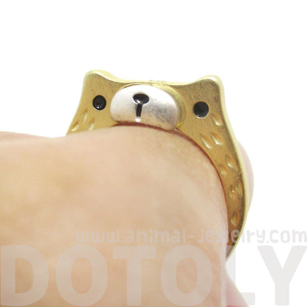 Adorable Teddy Bear Face Shaped Textured Animal Ring in Gold | DOTOLY | DOTOLY