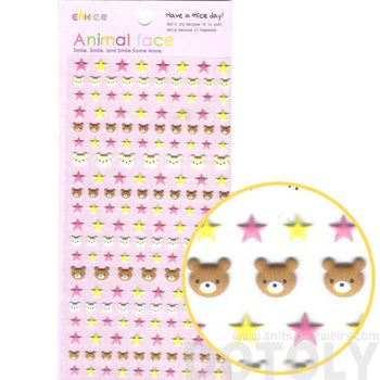 Adorable Teddy Bear Head and Star Shaped Animal Themed Puffy Stickers for Kids | DOTOLY