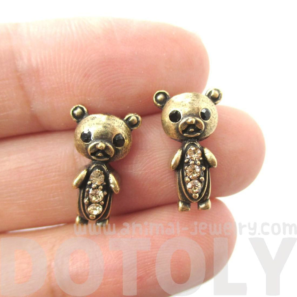 Adorable Teddy Bear Shaped Stud Earrings in Brass with Rhinestones | Animal Jewelry | DOTOLY